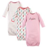 Touched by Nature Size 0-6M Feathers 3-Pack Organic Cotton Gowns in Pink