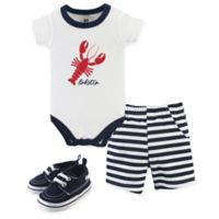 Hudson Baby® 0-3M 3-Piece Lobster Bodysuit, Shorts & Shoes Set in White