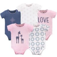 Yoga Sprout Size 12-18M 5-Pack Whimsical Giraffe Bodysuits in Pink