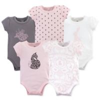 Yoga Sprout Size 12-18M 5-Pack Lace Garden Bodysuits in Grey