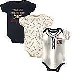 Little Treasure 9-12M 3-Pack Baseball Bodysuits