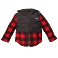 Free Country Size 12M Maple Plaid Fleece Hooded Jacket in Red