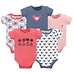 Yoga Sprout Bloom Size 3-6M 5-Pack Short Sleeve Bodysuits in Red