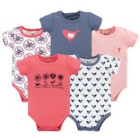 Yoga Sprout Bloom Size 12-18M 5-Pack Short Sleeve Bodysuits in Red