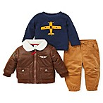 Little Me® Size 6M 3-Piece Aviator Jacket, Shirt, and Pant Set in Brown