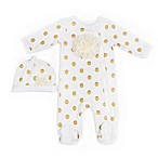 Nicole Miller NY Size 3M 2-Piece Polka Dot Footie and Cap Set in Ivory
