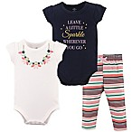 Little Treasures Size 0-3M 3-Piece Necklace Bodysuit and Pant Set in Blue