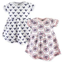 Yoga Sprout Size 12-18M 2-Pack Bloom Short Sleeve Dress Set in White