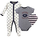 Hudson Baby® 3-6M 3-Piece Football Bodysuit, Sleeper & Bandana Bib Set in Grey