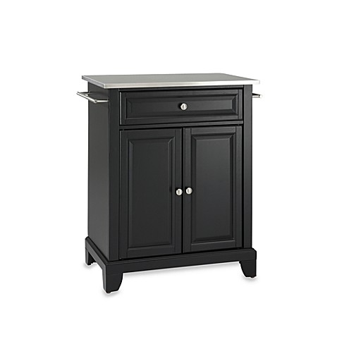 Buy Crosley Newport Stainless Steel Top Portable Kitchen Island In Black From Bed Bath Beyond