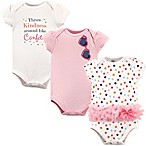 Little Treasures Size 6-9M 3-Pack Confetti Short Sleeve Bodysuits in White