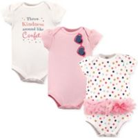 Little Treasures Size 18-24M 3-Pack Confetti Short Sleeve Bodysuits in White