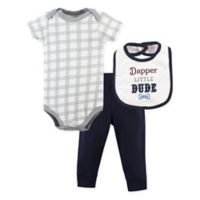 "Little Treasure Size 0-3M 3-Piece ""Dapper Little Dude"" Bodysuit, Pant and Bib Set"