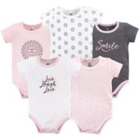Yoga Sprout Size 12-18M 5-Pack Scroll Bodysuits in Pink/Grey