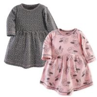 Yoga Sprout Size 5T 2-Pack Feather Floral Dresses in Grey