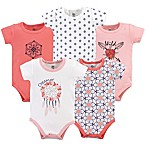Yoga Sprout Size 0-3M 5-Pack Dream Catcher Short Sleeve Bodysuits in White