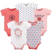 Yoga Sprout Size 3-6M 5-Pack Dream Catcher Short Sleeve Bodysuits in White