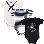 "Little Treasure Size 6-9M 3-Pack ""Seas The Day"" Bodysuits in White/Blue"