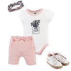 Yoga Sprout Size 9-12M 4-Piece Fresh Bodysuit, Shorts, Headband, and Shoe Set