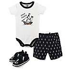 Hudson Baby® Size 0-3M 3-Piece Pirate Bodysuit, Short, and Shoe Set in Black
