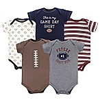 Hudson Baby® Size 0-3M 5-Pack Football Bodysuiits in Red/Brown/Grey