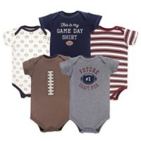 Hudson Baby® Size 3-6M 5-Pack Football Bodysuiits in Red/Brown/Grey