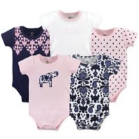 Yoga Sprout Size 12-18M 5-Pack Elephant Bodysuits in Pink/Navy