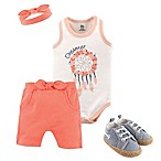 Yoga Sprout Size 3-6M Dream Catcher 5-Piece Bodysuit, Shorts, Headband and Shoe Set