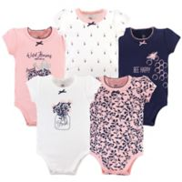 Yoga Sprout Size 3-6M 5-Pack Fresh Bodysuits in Pink/Navy