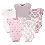 Yoga Sprout Size 0-3M 5-Pack Boho Elephants Bodysuits in Pink/Grey