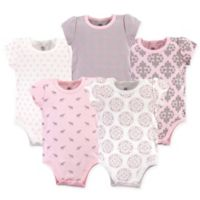 Yoga Sprout Size 3-6M 5-Pack Boho Elephants Bodysuits in Pink/Grey