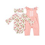 Nicole Miller NY Size 6M 3-Piece Floral Bodysuit, Jumper and Headband Set in Coral