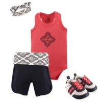 Yoga Sprout Size 3-6M 4-Piece Ornate Clover Short, Bodysuit, Headband and Crib Shoe Set in Blue