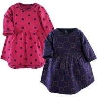 Yoga Sprout Size 18-24M 2-Pack Gold Link Long Sleeve Dresses in Blue/Pink