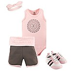 Yoga Sprout Size 3-6M 4-Piece Scroll Short, Bodysuit, Headband and Crib Shoe Set in Grey/Pink