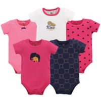 Yoga Sprout Size 12-18M 5-Pack Metallic Elephant Short Sleeve Bodysuits in Pink/Blue