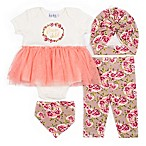 Nicole Miller NY Size 3-6M 4-Piece Flower Child Bodysuit, Legging, Cap and Bib Set