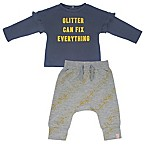 Mini Heroes™ Size 9M Glitter Fix Long Sleeve Shirt and Pant Set in Grey