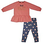 "Mini Heroes™ Newborn ""Think Kind"" Long Sleeve Tunic and Pant Set in Pink"