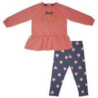 """Mini Heroes™ Newborn """"Think Kind"""" Long Sleeve Tunic and Pant Set in Pink"""