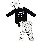 Mini Heroes Newborn 3-Piece Love Layette Set in Black