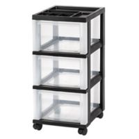 3-Drawer Rolling Storage Cart in Black