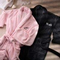 Embroidered Luxury Fleece Robes in Black/Pink (Set of 2)