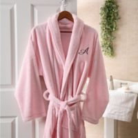Hers Embroidered Luxury Fleece Robe in Pink