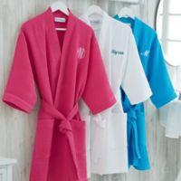 Plus Size Embroidered Waffle Weave Kimono Robe