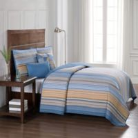 Moon Lake Stripe Twin Quilt in Blue/Yellow