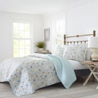 Laura Ashley® Cockatoo Reversible Full/Queen Quilt Set in Silver