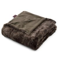 Brielle Faux Fur Throw in Dark Brown