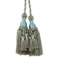 Belle with Mini Double Tassels Tie Back in Teal/Taupe