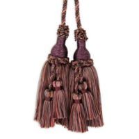 Belle with Mini Double Tassels Tie Back in Plum/Pink